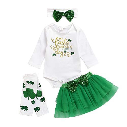Stirnbänder Dance Irish Kostüm - A-Artist Baby Tutu Rock Langarm Klee St. Patricks Day Irish National Day Brief Harness + Solid Color Puffy Tutu Rock + Stirnband + Sock Set