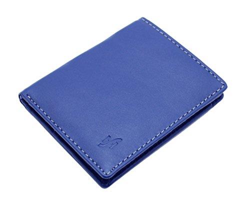 StarHide® Herren Designer Hochwertige Weiche Nappaleder Luxus Brieftasche Mit Einer Einzigartigen Mischung Aus Farbe #1155 (Grau / Blau) Blau