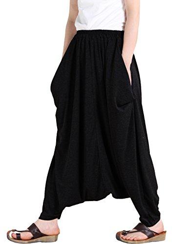 Vogstyle Damen Casual Pumphose Extragroße Aladinhose Baumwolle Haremshose (Schwarz) Dressy Pant Schwarz