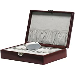 """Davidt's Unisex Watch Box For 12 Watches """"Chrome"""" 378912.14 Red"""