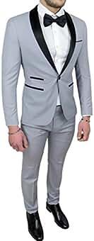 Abito completo uomo sartoriale grigio raso vestito smoking elegante  cerimonia 250b15ef804