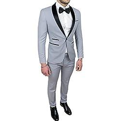 Abito completo uomo sartoriale grigio raso vestito smoking elegante cerimonia (54)