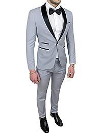 Abito completo uomo sartoriale grigio raso vestito smoking elegante cerimonia