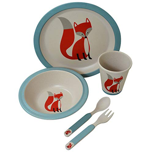 Kindergeschirr-Set aus Bambus, 5-teilig, Motiv Fuchs, weiß / blau