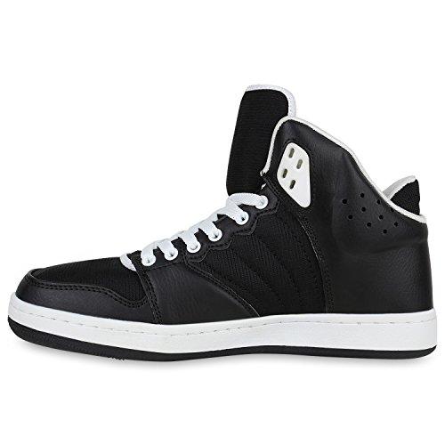 Damen Herren Cultz Basketballschuhe Sportschuhe Sneakers Schwarz Weiss Brito