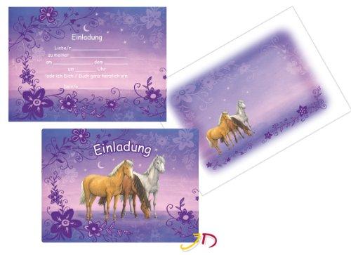 12-teiliges Einladungen-Set * LILA TRAUMPFERDCHEN * mit 6 Einladungskarten und 6 Umschläge für Kindergeburtstag // Kinder Geburtstag Party Einladung Karten Mädchen Pony Pferde