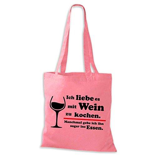 Baumwolltasche Jutebeutel Ich liebe es mit Wein zu kochen Essen Sprüche Fun Spass Stoffbeutel Rosa / Schwarz