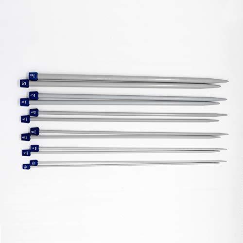 Korbond - Juego 12 agujas tejer aluminio plástico