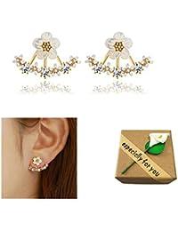 SwirlColor Pendientes de botón pequeño lindo margarita nuevo estilo para mujeres de la joyería Accesorios