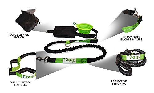 Hands-Free-Running-Dog-Lead-by-Tdogs-Premium-Dog-walking-Jogging-Belt-with-Collapsible-Clip-on-Dog-Bowl-Heavy-Duty-Design-for-up-to-85kg--Reflective-stitching-Dual-Handle-and-Pouch--Fitness-and-Dog-Wa