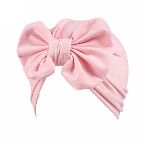 Ears Kids Baby Girl Boho Hat Kinder Baby Mädchen Boho Hut Beanie Schal Turban Kopf Wickeln Cap (Pink) Cotton Knit Romper