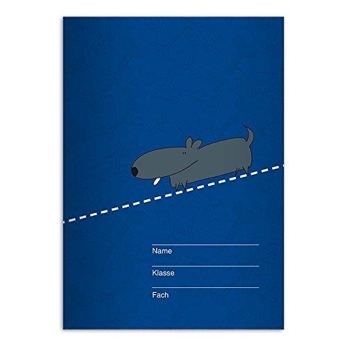 8 freche DIN A4 Schulhefte, Rechenhefte mit süßem Dackel, blau Lineatur 23 (Kariertes/rautiertes Heft) -