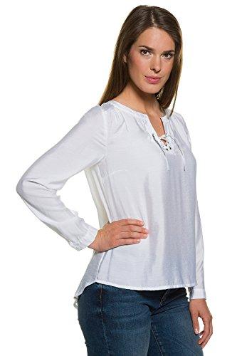 GINA_LAURA Damen   Bluse   schwarz, Ausschnitt mit Schnürung   Loose-Fit   längerer & gerundeter Saum   bis Größe XXXL   708152 Weiß