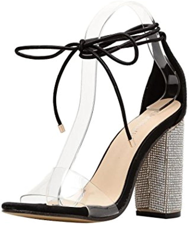 f75994e4a8e6 Women Pumps Women Elegant Fashion Rhinestone B07F7XJ7NS High Heels Platform  Pumps Women Women Fashion Cross Tied Transparent Crystal Square.