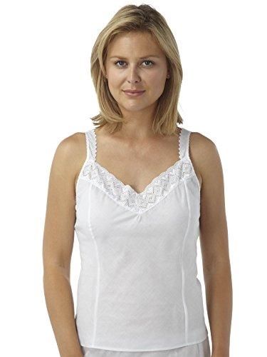 Pack 2 Womens/dames sous-vêtements Camisole blanche gilet polyester/coton avec dentelle détaillant, différentes tailles Blanc