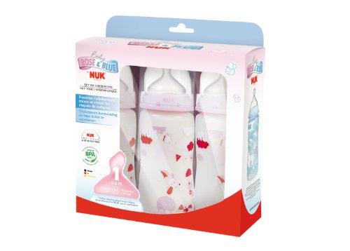 NUK Lot 3 Biberons First Choice, Rose, 300 ml