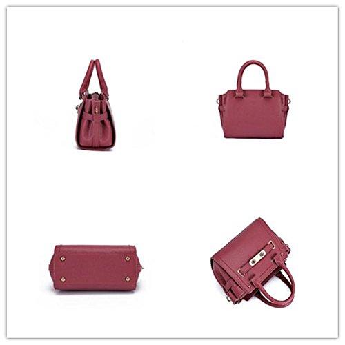 LDMB Damen-handtaschen Multifunktionale PU-lederne Schulter-Kurier-Beutel-Handtaschen-leichte klassische justierbare Einkaufstasche red bean paste