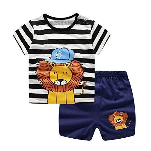 feiXIANG Baby Jungen Mädchen Kurzarm Shirt Shorts Outfit Set Streifen Cartoon Tier gedruckt Kinderbekleidung(Marine,90)