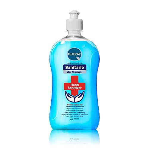 Gel HidroAlcohólico Azul Sanitario Antiséptico Queray 500 ml · Envase con Dosificador Directo · Gel Desinfectante Sanitario Anti- Bacterias para Piel Sana · Previene Contagio e Infecciones de Virus