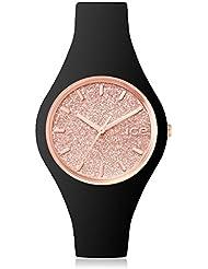 ICE-Watch - 001637 - Glitter - Montre Femme - Quartz Analogique - Cadran Rose - Bracelet Silicone Noir