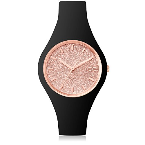 Ice-Watch - ICE glitter Black Rose-Gold - Montre argent pour femme avec bracelet en cuir - 001346 (Small)