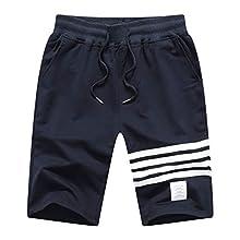 JustSun Mens Sports Casual Shorts Joggers Shorts with Elastic Waist Blue Medium