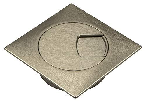 Gedotec Kunststoff Kabeldurchlass Schreibtisch Kabeldurchführung Edelstahl mit drehbarem Segment im Deckel - H1010 | Kabeldose Bohr-Ø 60 mm | Kabelführung eckig für Büro-Tisch | 1 Stück - Kabelausgang
