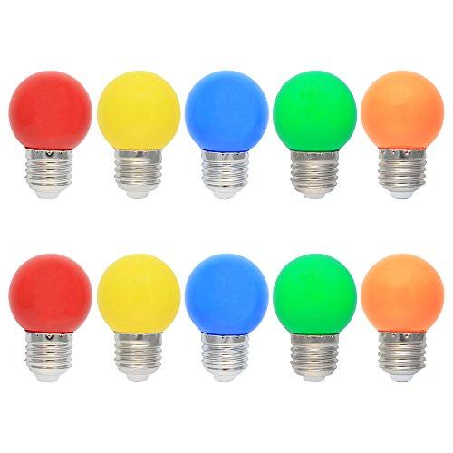 10 Stück E27 LED Bunte 1W Farbige Glühbirnen Farbig Gemischt 100LM Energiesparende PC LED Bunte Birnen DekoGlühbirne AC220V-240V, Rot, Gelb, Blau, Grün und Orange -