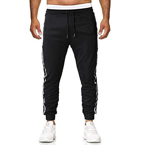 Cindeyar Herren Hosen Sommer Sporthose Mode Lange Sportswear Cargo Hosen Trainingshose Jogginghose Freizeithose(Black-2.S)