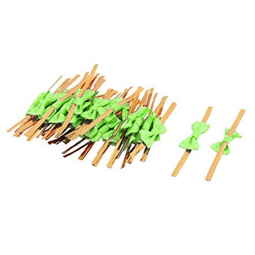 te Muster Bowknot Dekor Süßigkeit Tasche Packung Seil Zwei Krawatte grün (Machen Sie Halloween-süßigkeiten-taschen)
