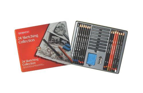 Derwent Sketching Collection Set da 24 Strumenti Assortiti da Schizzi e da Disegno in Scatola di Metallo