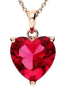 MYA art Kette Halskette Mini Herz Anhänger mit Swarovski Elements Edelstahl Rosegold Vergoldet Pink Rot Rose Kurze...