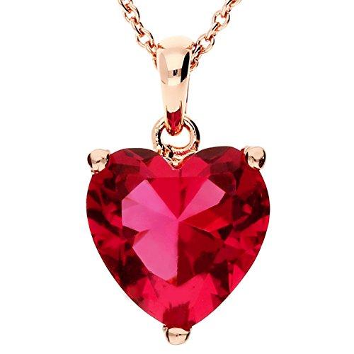MYA art Kette Halskette Mini Herz Anhänger mit Swarovski Elements Edelstahl Rosegold Vergoldet Pink Rot Rose Kurze Herzketten Collier Geschenk MYARGKET-10 (Plus Herz Womens)