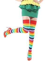 JTC Chaussette Haute Jambières Femme Rayures Multicolores Arc-En-Ciel Coton neuf Horizontales bas Haut Les Hautes Chaussettes de Cuisse, Plus de Filles du Genou des Femmes de Cosplay Halloween