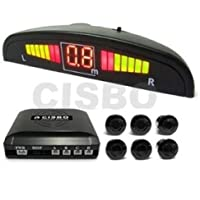 Bright Red 6 Rear Parking Reversing Sensors with LED Display 2 Front 4 Rear