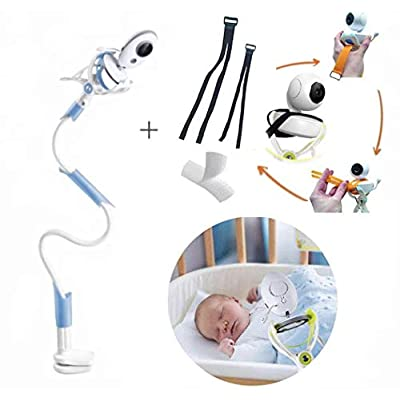 WOndr : Universal Baby Monitor Holder with Straps : Flexible Baby Camera Mount Shelf : Clamp Easy : A Safer Monitor Stand for Your Baby's Nursery : No Drilling : Fits Most Baby Monitor Bases (Blue)