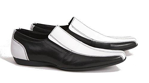 Deliziosi di giunzione il Eton Bianco e nero in pelle Slip On Mocassino, Multicolore (Bianco/Nero), 42