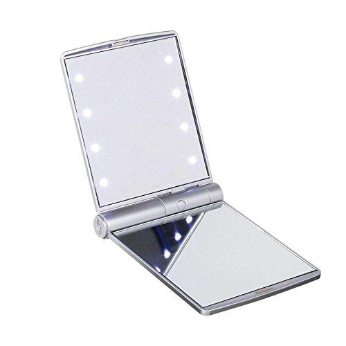 Beleuchteter Taschenspiegel mit Vergrößerung Leuchtspiegel Silber (Schminkspiegel, Kosmetikspiegel...