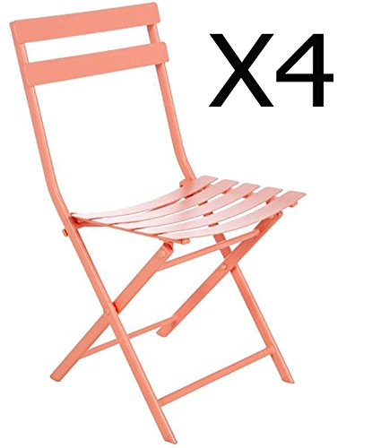 Lot de 4 chaises pliantes coloris corail - Dim: 52 x 42 x 80 cm -PEGANE-