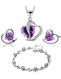 chic herz lila mode versilbert rosa kette anhänger crystal