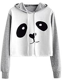 Angelof Sweat A Capuche Femme Blouse Femme Chic Manche Longue Sweatshirt  Imprimé Panda Sweat-Shirt 9c2af742b253