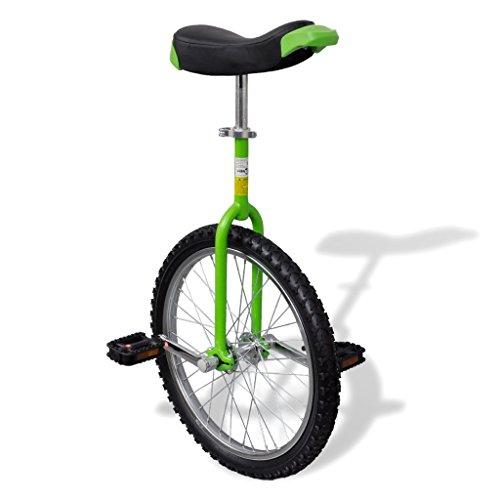 vidaXL Unicycle Fahrrad grün mit Schnellspanner Luxus Einrad 20 Zoll höhenverstellbar