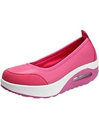 Yiiquanan Damen Sportschuhe Sneaker Freizeitschuhe Atmungsaktiv Runder Kopf Dicker Boden Running Schuhe (Grau, EU 41.5)