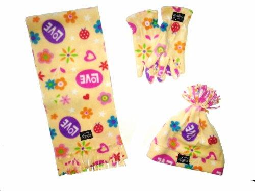 Preisvergleich Produktbild WINTER Fleece Set 4- teilig für Kinder - bestehend aus 1 Schal, 1 Mütze und 1 Paar Handschuhe - beige-gelb