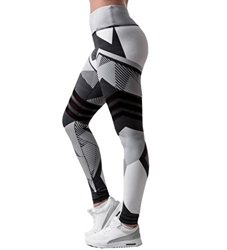 Damen 3/4 Yoga Leggings Hose , Yogogo Mittlere Taille Pants | Dünne Hosen | Mesh Muster Print Fitness Leggings | Sport Fitness Workout Leggins | Elastische Dünne Hosen | Sporthose (XL, Schwarz)