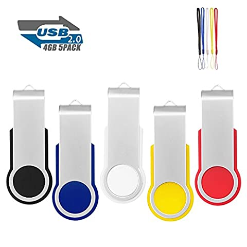 5Pack 4GB USB 2.0 Thumb Flash Drives Swivel Design Pen Memory Stick Fold Storage (Mixed Color With