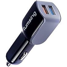 Lumsing® Cargador de coche Qualcomm Quick Charge 2.0 Technology de 2 puertos USB 24W para Samsung Galaxy S7/S6/ Edge/ Edge+, Note 5/ 4/ Edge, LG G5, Nexus 6 y más (negro)