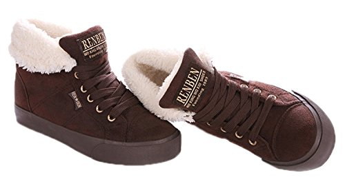 Minetom Donna Lace Up Neve Stivali Autunno Inverno Calzature Female Moda Flats Scarpe Cavaliere Stivaletti Marrone