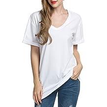 AL'OFA Camiseta Básica para Mujer de Manga Corta con Cuello de Pico T-shirt de 100% Algodón