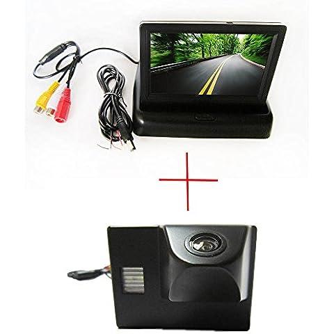 fuway CCD color coche inversa Backup cámara de visión trasera para Toyota Land Cruiser LC 12045004700, con plegable pantalla color LCD TFT retrovisor Monitor de 4.3pulgadas coche monitor de copia de